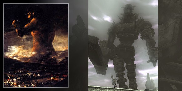 El Coloso de Goya, indudable referencia de Shadow of the Colossus, y un art-work inspirado por el juego del Team ICO.