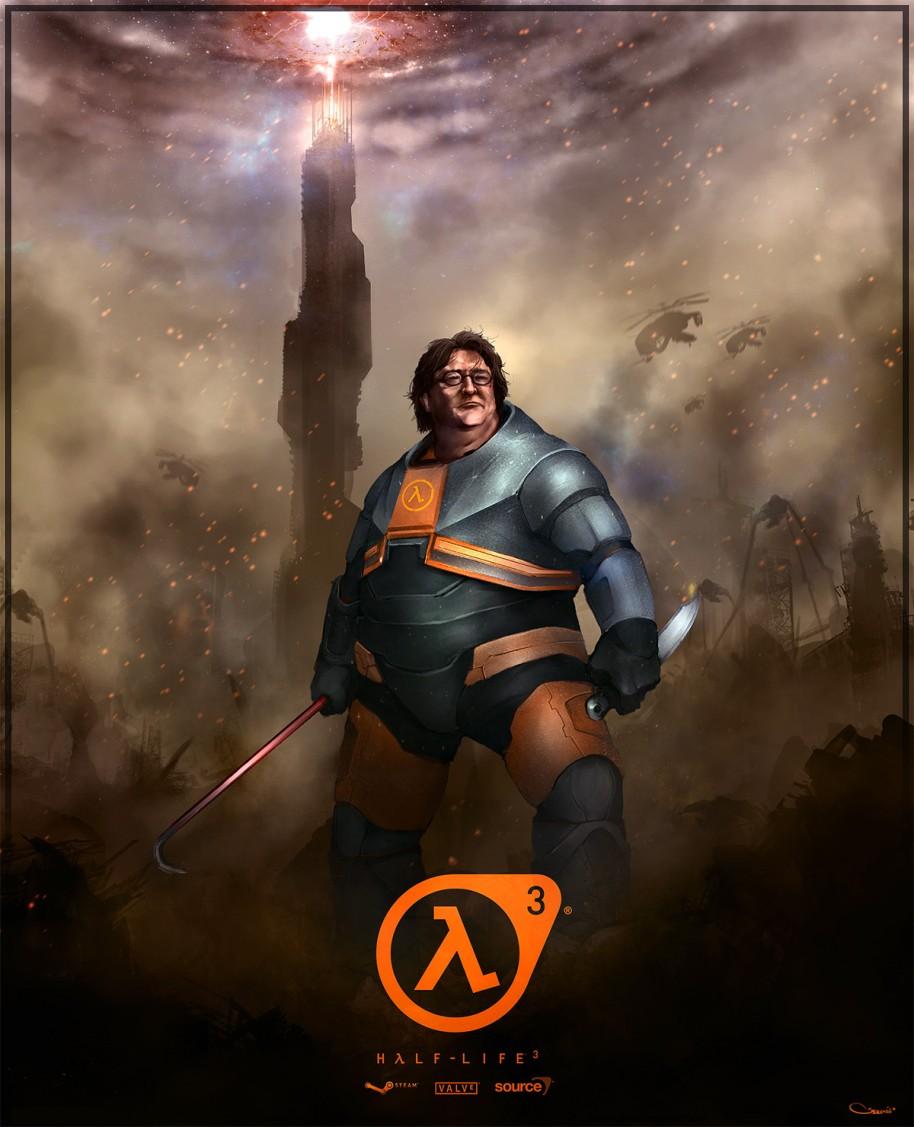 Ilustración realizada por DarrenGeers, uno de los muchos ejemplos que podemos encontrar en Internet sobre la figura de Gabe Newell y un supuesto tercer capítulo de Half-Life.