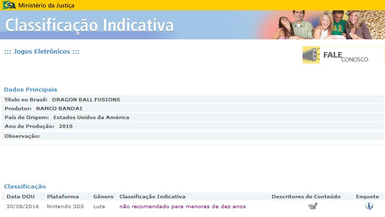 Dragon Ball Fusions aparece calificado en el registro de videojuegos brasileños