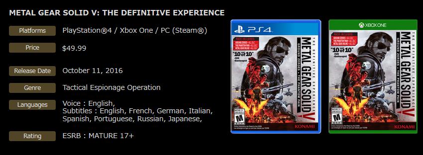 Konami presenta oficialmente la edición definitiva de Metal Gear Solid V