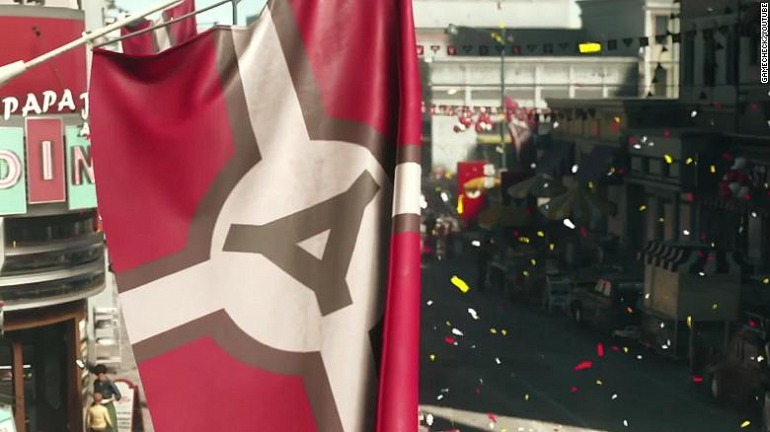 "Bandera ""nazi"" alternativa usada en Wolfenstein 2 para Alemania."