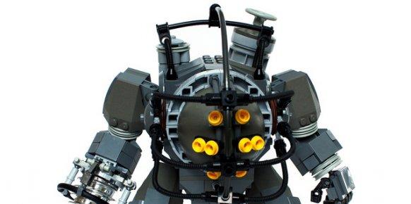 Imagen de un Big Daddy de Bioshock, creado con piezas de LEGO