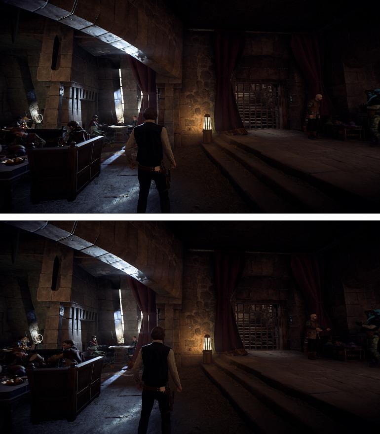 Ejemplo de Star Wars: Battlefront 2 a resolución 4K. Arriba, normal; abajo, SSAA.