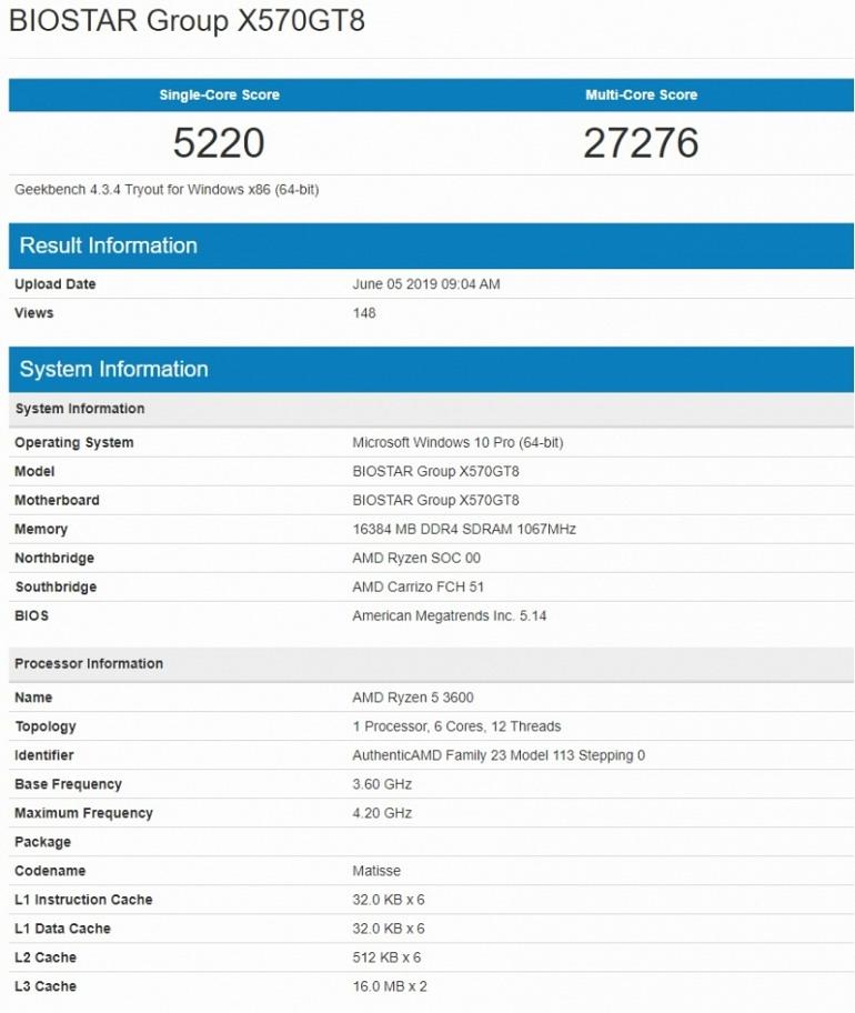 El AMD Ryzen 5 3600 arrasa en el banco de pruebas Geekbench