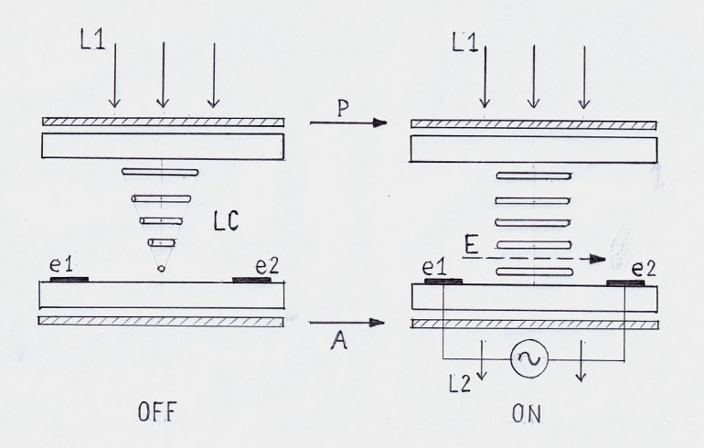 Diagrama del funcionamiento de un panel IPS. Imagen: wikimedia commons; BBCLCD.