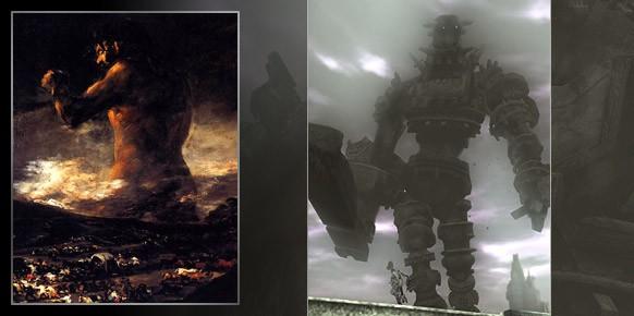 El Coloso de Goya, indudable referencia de Shadow of the Colossus, y un art-work inspirado por el juego del Team ICO.