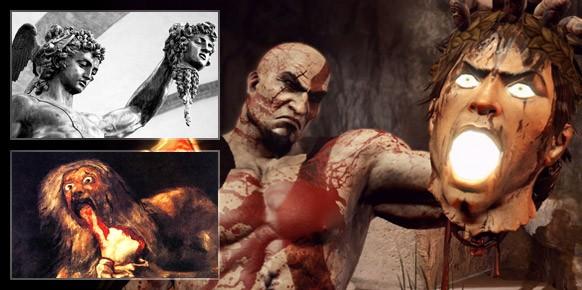 Saturno Devorando a sus Hijos y la escultura de Perseo y Medusa. Dos inequívocos ejemplos del cruento arte de God of War.