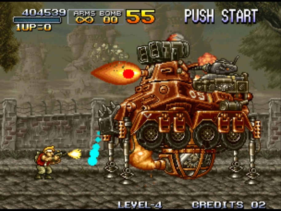 Otra característica esencial de Metal Slug: sus enormes jefes. Construcciones imposibles que hay que tirar a bombazos.