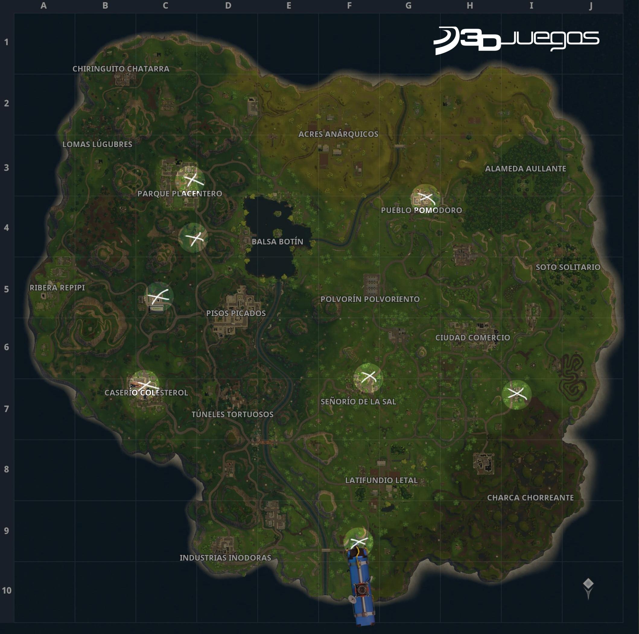 Mapa Fortnite Temporada 5 Español.Desafios Del Pase De Batalla De Fortnite Temporada 3 Semana 5